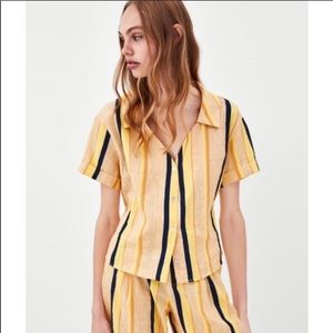Zara yellow linen tie back stripe top